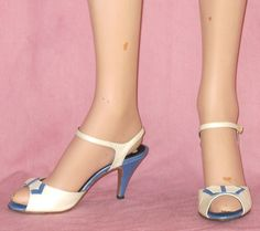 Vintage Famolare Periwinkle Blue and White Strappy Peeptoe Shoes