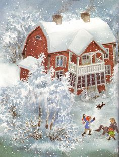 One of most best received days besides summer vaca. Christmas Art, Winter Christmas, Christmas Pictures, Vintage Christmas, Christmas Graphics, Christmas Wrapping, Winter Illustration, Christmas Illustration, Winter Snow