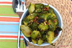 Roasted Brussels Sprouts With Raisins, Smashed Almonds, and Curried Fig Vinaigrette 16 Holiday Recipes That Real Healthy People Actually Eat Healthy Thanksgiving Recipes, Vegan Roast, Vegetable Side Dishes, Veggie Side, Vinaigrette, Brussels Sprouts, Raisin, Healthy Eating, Healthy Treats