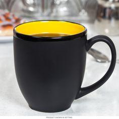 Hilo Bistro Ceramic Coffee Mug Yellow Matte Black   Cafe Coffee ...