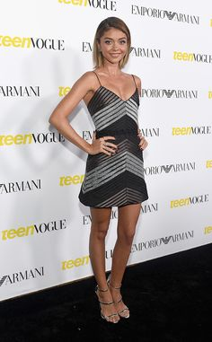 Sarah Hyland from The Best of the Red Carpet  The actress is shimmering in a Vatanika mini and Giuseppe Zanotti sandals at the Teen Vogue Young Hollywood party.