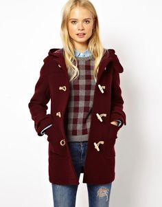 Burgundy and gray gingham Kelfield Crew sweater - boyfriend style // Jack Wills Fall/Winter 2013 Lookbook / Jack Wills Wool Duffle Coat With Check Lining