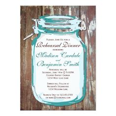 Mason Jar Rustic Wood Rehearsal Dinner Invitations