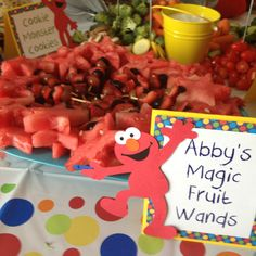 Sesame Street Party Food: Abby's Magic Fruit Wands.  These wands turned out great- watermelon stars, grape halves and strawberry pieces.  I wish I had taken the picture from the top.