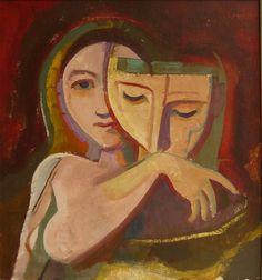 Karl Hofer, Mädchen mit Maske, 1949