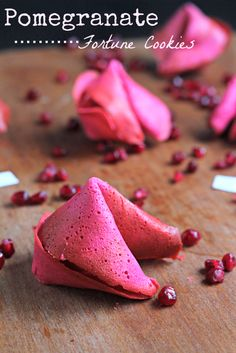 POMEGRANATE FORTUNE COOKIES PRINT Make fortune cookies at home! These are a beautiful pink with a subtle pomegranate flavor! Author: Amy Kritzer Recipe type: Dessert Cuisine: Chinese Serves: 30 INGREDIENTS 3 egg whites ¾ cup granulated sugar ½ cup butter, melted and cooled ½ teaspoon vanilla extract 1 cup all-purpose flour 4 tablespoons pomegranate juice Red food coloring (optional) INSTRUCTIONS Preheat the oven to 350 degrees F. While it is preheating, fill out fortunes on small pieces…