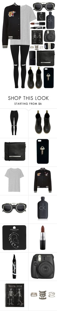 """Untitled #851"" by clary94 ❤ liked on Polyvore featuring Topshop, Dr. Martens, Monki, The Giving Keys, Current/Elliott, Denim & Supply by Ralph Lauren, NARS Cosmetics, ZeroUV, Calvin Klein and MAC Cosmetics"