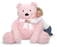 Jumbo Pink Teddy Bear - Plush and thousands more of the very best toys at Fat Brain Toys. This Jumbo Pink Teddy Bear is perfect for room decor or as a snuggly bedtime pal. This oversized bear will appeal to all ages. Jumbo Teddy Bear, Teddy Bears For Sale, Giant Teddy Bear, Paw Patrol, Marvel Avengers, Teddy Bear Online, Giant Stuffed Animals, Stuffed Toys, Giant Plush