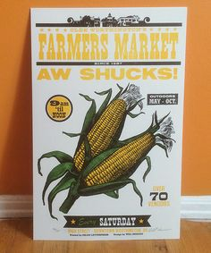 AW SHUCKS!  This authentic letterpress print, featuring an antique engraving of Corn of the Cob, was designed to promote Worthington Ohios local