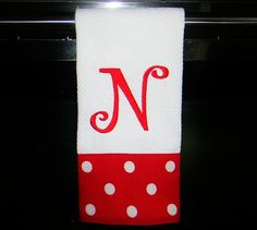 Monogrammed Kitchen Towel or Hand Towel  Red and by DesignsByThem, $13.50