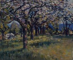 """""""Spring Landscape with Flowering Trees,"""" Charles Salis Kaelin, oil on canvas, 20 x 24"""", private collection."""
