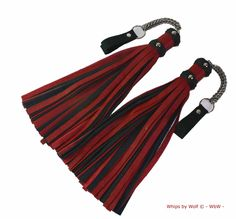 Poi floggers pair- leather- bdsm- ±40 falls each- Heavy stainless steel chainmail- Classic red and black Leather- thudy- Genuine leather by WhipsbyWolf