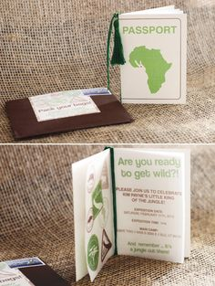 safari-jungle-passport-invitation from hwtm. Great invite for a jungle safari party and lovely dessert table too. passport to skin care Safari Party, Safari Jungle, Jungle Theme Parties, Jungle Party, Birthday Party Themes, Birthday Ideas, Baby Shower Niño, Shower Party, Baby Shower Parties
