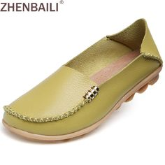 39c19f1acac Hight Quality Genuine Leather Women Casual Shoes 2017 Fashion Candy Colors  Comfortable Slip on Peas Massage Flat Shoes Plus Size-in Women s Flats from  Shoes ...