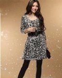 Leopard Long Sleeves Round Collar Women Dress