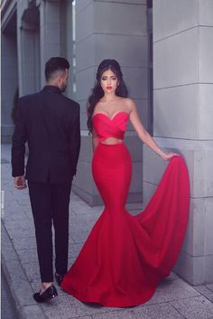 New Arrival Sweetheart Mermaid Red Prom Dress,Ruffles Sweep Train Evening Gowns,Sexy Long Prom Dress