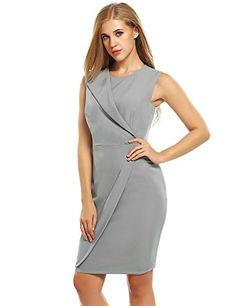 ZEARO Damen Kleid beiläufige O-Ausschnitt Ärmellose hohe Taillen-feste Kleider mit Futter Figurbetontes Dress: Amazon.de: Bekleidung