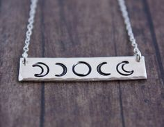 Moon phase bar necklace with phases of the moon by ZennedOut