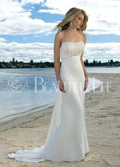 $169.99 Unique Goddess Spaghetti Straps #Empire Waist Backless Satin #A-Line #Wedding #Dress