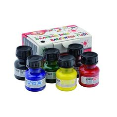 Koh-I-Noor Set of Coloured Drawing Ink - 6 X for sale online Koh I Noor, Francisco Goya, Rembrandt, Technical Pen, Calligraphy Ink, Office Branding, Artist Supplies, Drawing Letters, Dip Pen