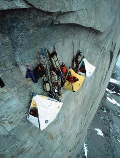 I hate heights and this shot of Climbers camp literally makes my hands sweat and heart race instantly. I could never camp like this.