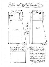 Esquema de modelagem de vestido tipo bata plus size tamanho 56.