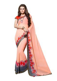 Peach Saree, Sari, Fashion, Saree, Moda, Fashion Styles, Fashion Illustrations, Saris, Sari Dress