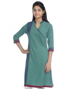 Cotton Khadi Amber Paneled Long Kurta