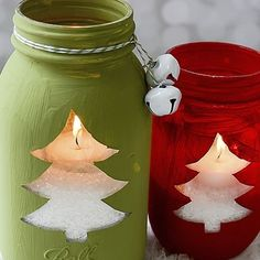 Easy Christmas ideas to do with the kids start saving old glass jars coffee one even old candle ones anything really then all u need is a… Christmas Tree Cut Out, Christmas Tree Candles, Simple Christmas, Handmade Christmas Decorations, Christmas Gift Wrapping, Christmas Crafts, Christmas Ornaments, Christmas Ideas, Old Candles
