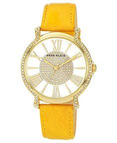 Anne Klein Watch, Women's Mustard Leather Strap 38mm AK-1068MSTD - Women's Watches - Jewelry & Watches - Macy's