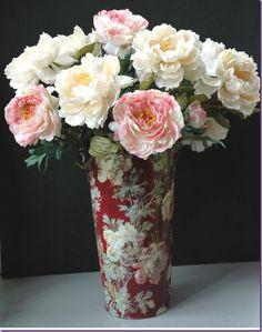 Language of Flowers: Peony Peony Arrangement, Floral Arrangements, Peony Flower, Flower Vases, Silk Peonies, Metal Vase, Language Of Flowers, Red Tulips, Decoration