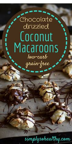 This low-carb chocolate drizzled coconut macaroons recipe makes delightful soft cookies with just the right amount of coconut and chocolate.  They are not only low-carb, but also gluten-free, grain-free, and sugar-free. They make a perfect treat for people on a diabetic, ketogenic, low-carb, Atkins or Banting diet.