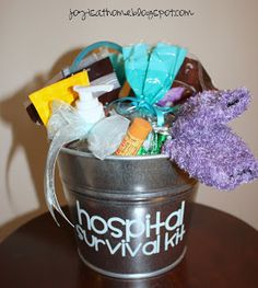 Joy Is At Home: Hospital Survival Kit for a New Mom - I'm getting to that age where my friends are having kids. This would be a great baby shower gift!