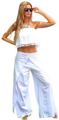 07450e1867 Lirome White Pamina Organic Woven Crochet Unique Wrapped Flare Pants Size  OS (one size)