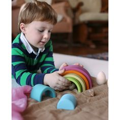 With colors like a morning in spring, this rainbow tunnels brings a softer palette to your child Natural Toys, Toy Craft, Grimm, Rainbow Colors, Pastel, Children, Wooden Blocks, Xmas, Christmas