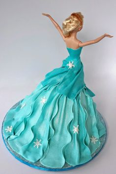 Cake Blog: Elsa Doll Cake Tutorial - I like the use of fondant for making the bodice