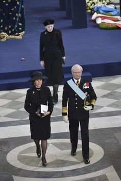 King Carl Gustav, Queen Silvia of Sweden followed of the church by Queen Margrethe of Denmark afer the funeral of Princess Lilian of Sweden