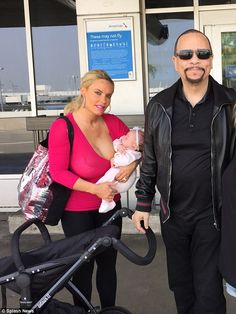 Family trip: Coco Austin and her husband Ice-T looked like a happy pair as they headed into LAX airport alongside their daughter Chanel on Sunday