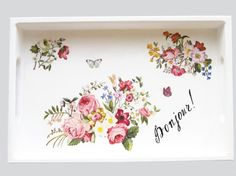 Wooden tray Serving tray Romantic gift Gift for her Decoupage decor Floral theme Gift for coffee lover Home decor Kitchen decor Cute tray