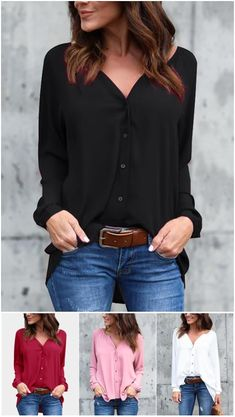 Cozy V-neck Long Sleeves Button-down Chiffon Blouse