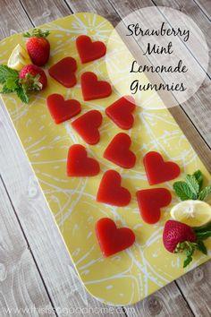 Strawberry Mint Lemonade Gummies // deliciousobsessions.com