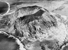 """February - April 1945: Aerial photograph of Mount Suribachi on Iwo Jima."" (IWM…"