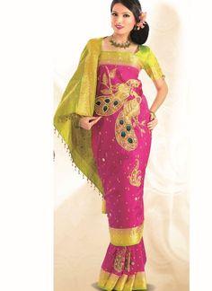 Magenta Green Embroidered Kanchipuram Silk Saree Reception Sarees, Traditional Silk Saree, Ethnic Wedding, Indian Silk Sarees, Indian Bridal Fashion, Latest Sarees, Asian Bride, Saris, Bride Hairstyles