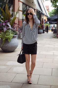 I'm wearing: H blouse, H skirt, Zara heels and bag