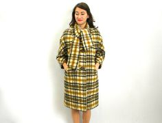Vintage 60s Gold Black Plaid Wool Coat with by GlennasVintageShop