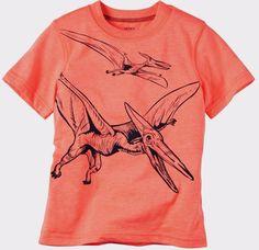Carter's Boy Short Sleeve Dinosaur Illustrated Neon Orange Tee (Size 7) #neon #orange #size #illustrated #dinosaur #short #sleeve #carters