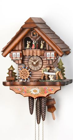 Cuckoo Clock Moving Wood Workers Mill Wheel 1-Day Movement with Music