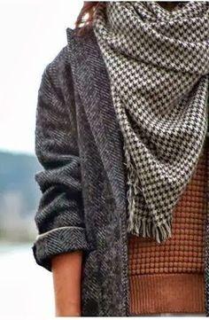 houndstooth + herringbone. Vintage style for winter.