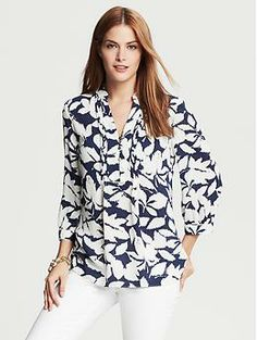 Leaf-Print Blouse | Banana Republic
