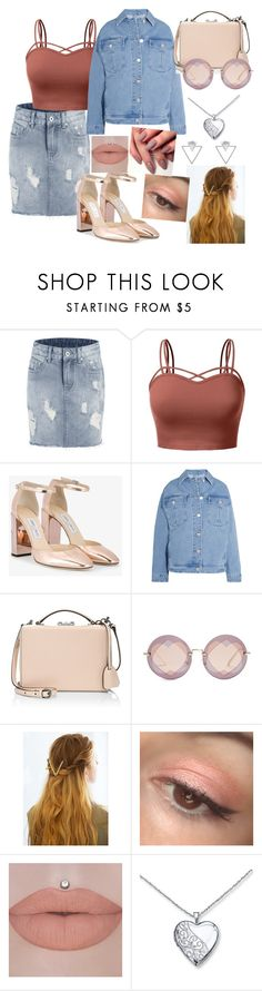 """Untitled #602"" by ancamlk ❤ liked on Polyvore featuring J.TOMSON, Jimmy Choo, Topshop Unique, Mark Cross, Miu Miu, WithChic and Eloquii"
